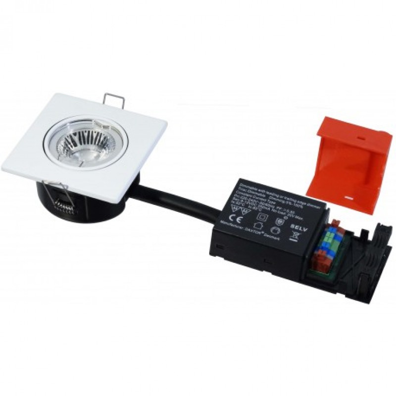 Daxtor Easy 2-Setup, 87x87, H40mm, Square, Mat Hvid, inkl lyskilde, 3000 Kelvin