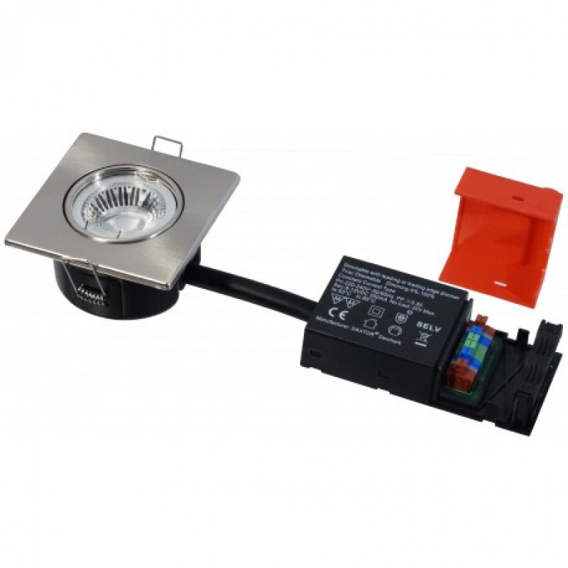 Daxtor Easy 2-Setup, 87x87, H40mm, Square, Børstet Stål, inkl lyskilde, 3000 Kelvin