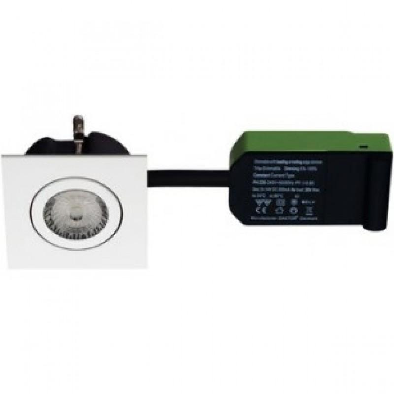 Daxtor Easy 2-Use, 87x87, H38mm, Square, Mat Hvid, Inkl. lyskilde 2700 kelvin