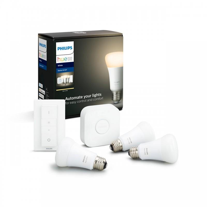 Philips Hue White Startpakke | 3xE27 + Bridge 2 + lysdæmperkontakt