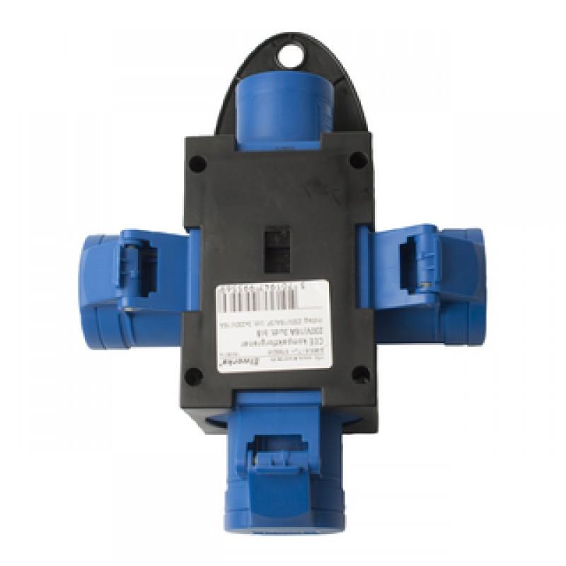 CEE kompaktforgrener 230V/16A 3udt. blå