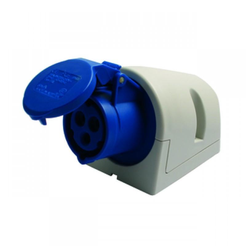 CEE vægstikkontakt 16/250V IP44 blå