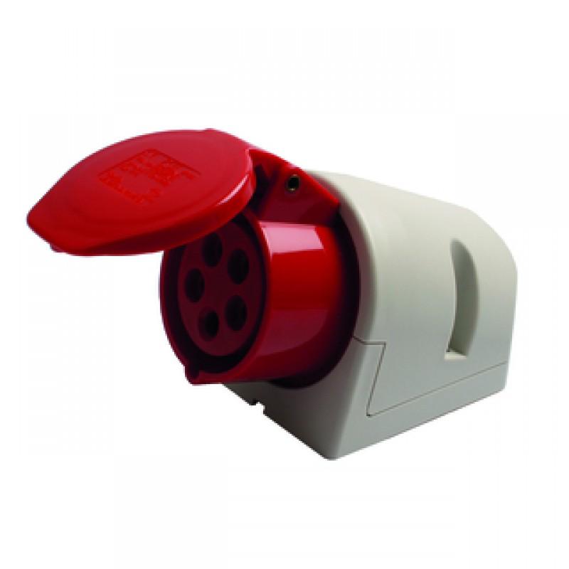 CEE vægstikkontakt 16/400V IP44 rød