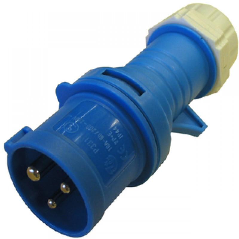 CEE stikprop 16/250V IP44, blå