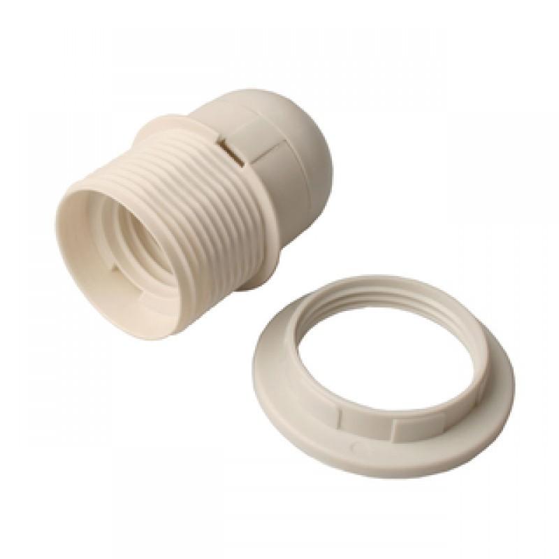 Kronefatning u/afbryder E27 plast hvid
