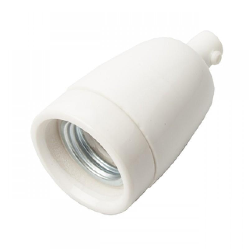 Porcelænsfatning E27 hvid m/aflastning