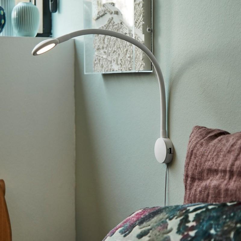 Raxon LED Læselampe med fleksibel arm og USB lader Hvid