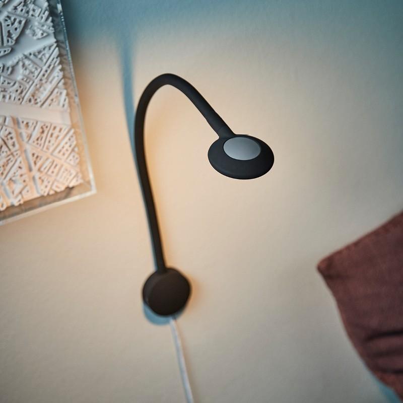 Raxon LED Læselampe med fleksibel arm og USB lader Sort