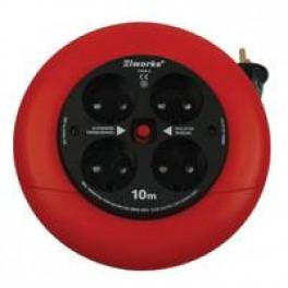 Kabeltromle 10m, 4 udtag m/termosikring og blindhul-20